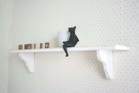 White Wood Shelf, Shabby Chic Wall Shelves, Girls Room, Nursery Shelves, cottage chic decor HB-008