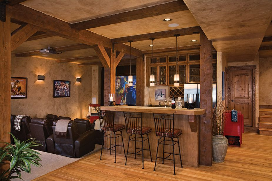 Country style basement with movie theater basement design ideas pinterest basements - Basement bar layout ideas ...