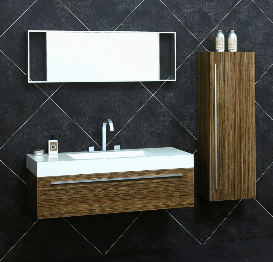 47 Zebrawood Wall Hung Vanity Set Including Mirror Bbd1200 Modern Bathroom Vanity Bathroom Vanity Designs Unique Bathroom Vanity