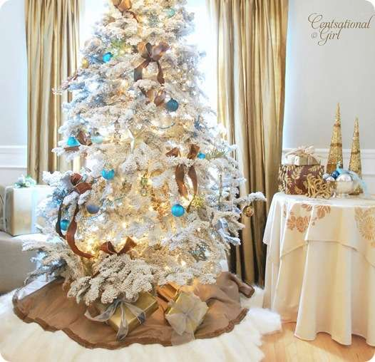 white flocked tree Holiday Christmas Pinterest Trees, White
