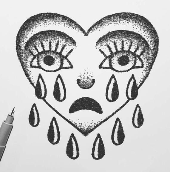 Photo of Crying Heart Tattoo Flash Design A5 Black and White Art Print // Tattoo Flash Print // Tattoo Art //