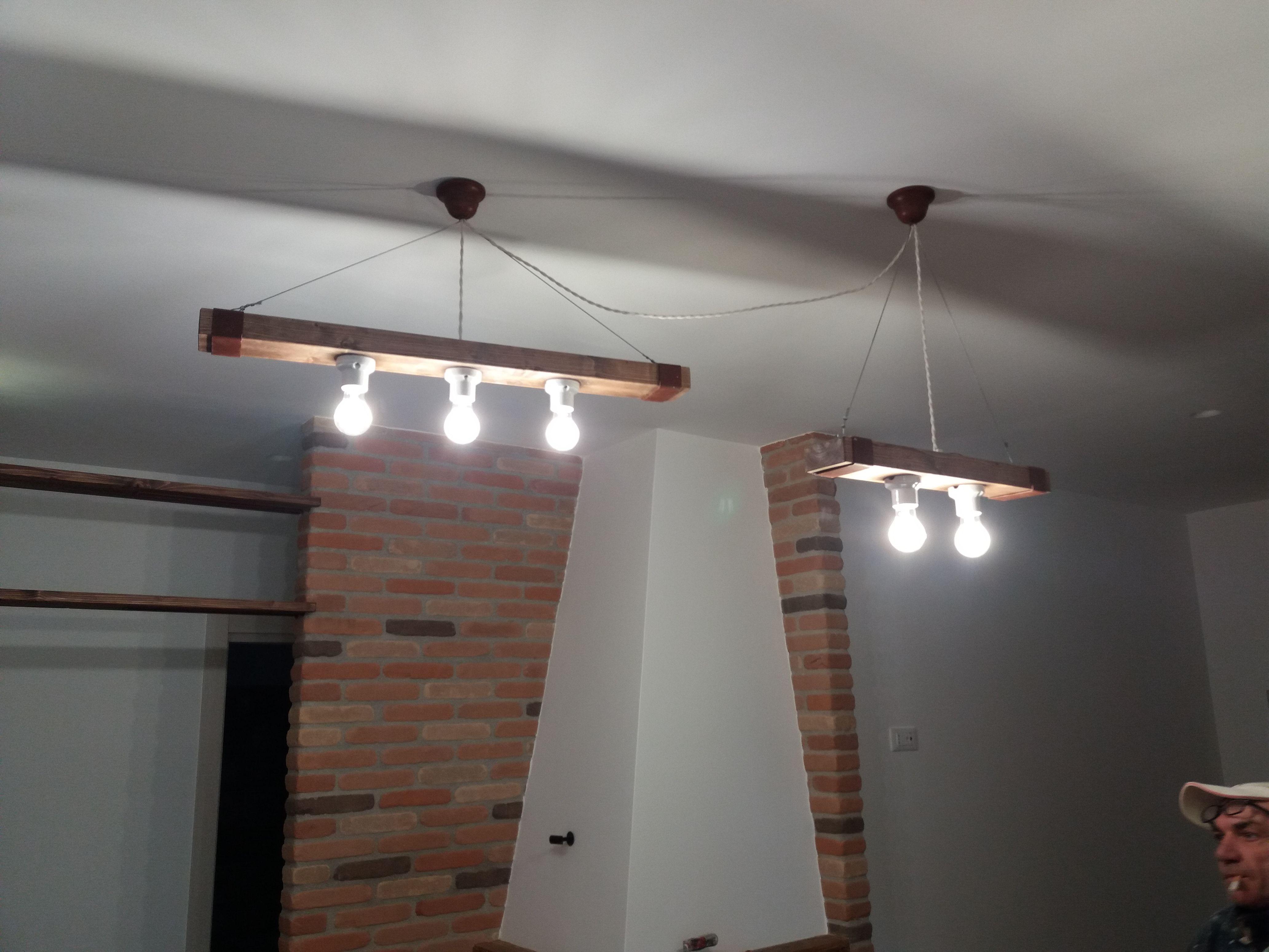 Luci Per Tettoia In Legno lampade a sospensione realizzate in opera