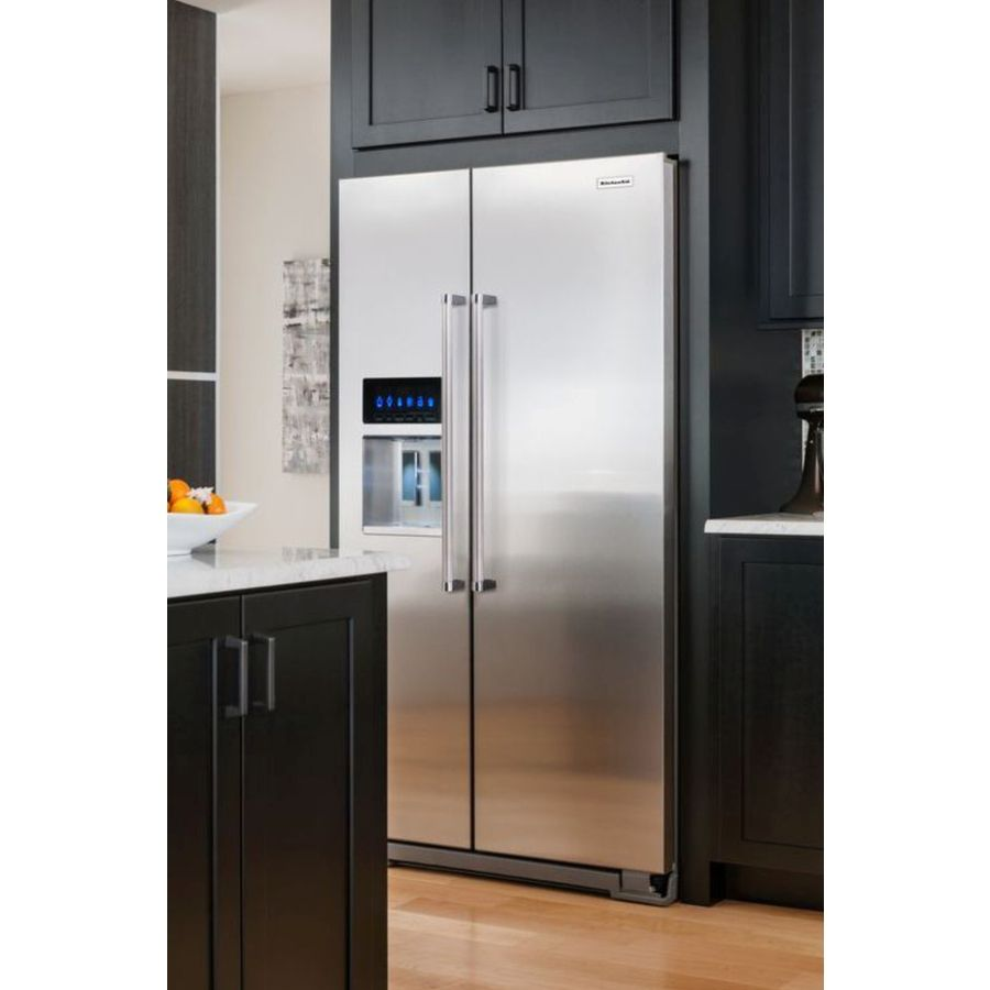 Shop KitchenAid 23.9-cu Ft Counter-Depth Side-By-Side Refrigerator With Single Ice Maker