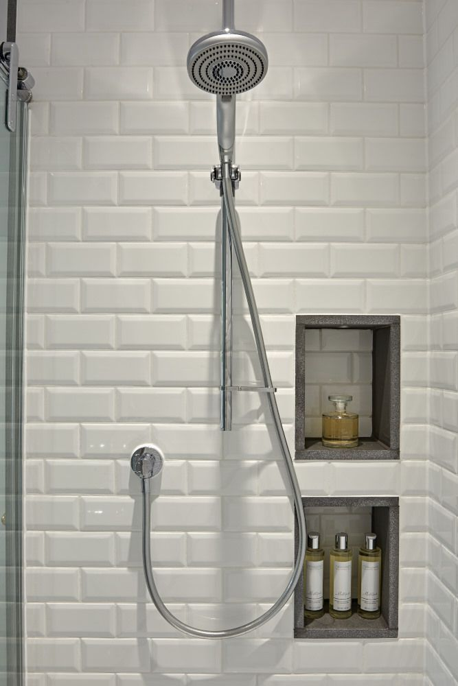 creative shower area with white metro wall tiles and recessed storage the basalt edging finishes - Recessed Panel Bathroom Decoration