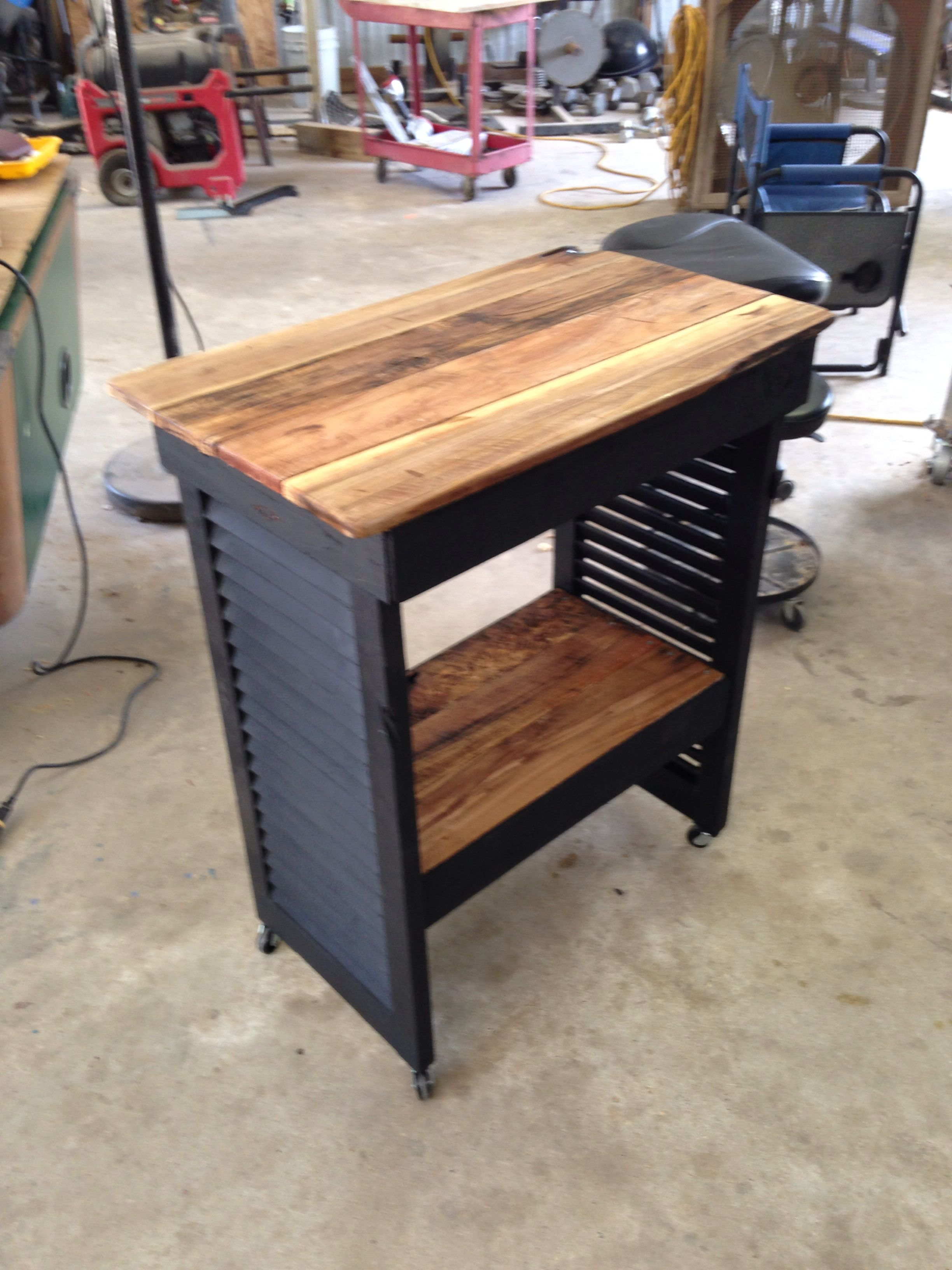 Shutter Table With Cedar Top And Shelf For Sale From Charla Griffin Designs Shutter Table Shelves Decor