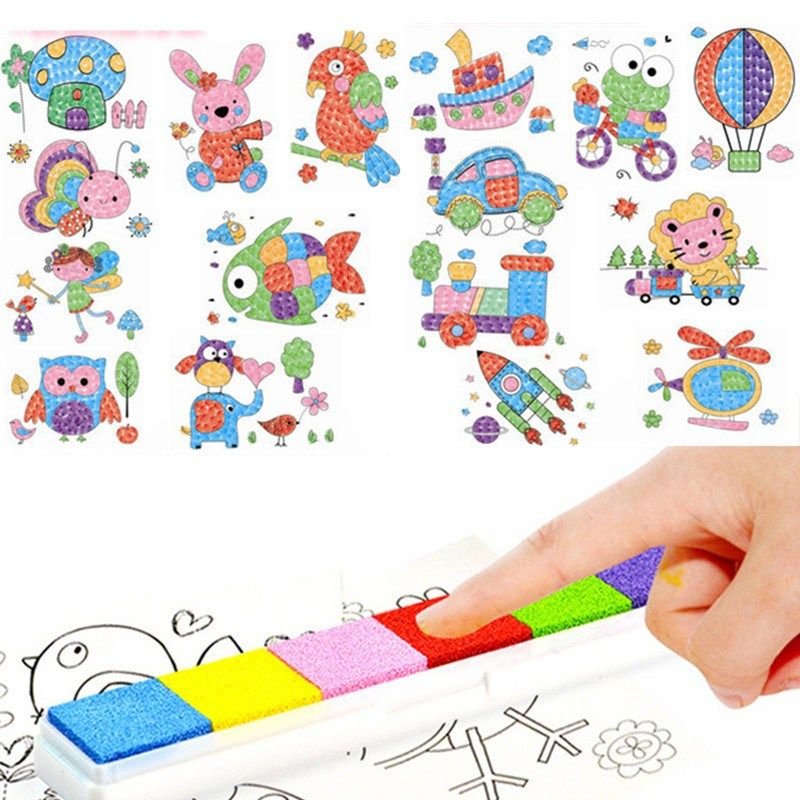 diy 8pcs cartoon kid finger painting craft set children colorful fingerpaint drawing education learning picture toy - Cartoon Painting For Kids