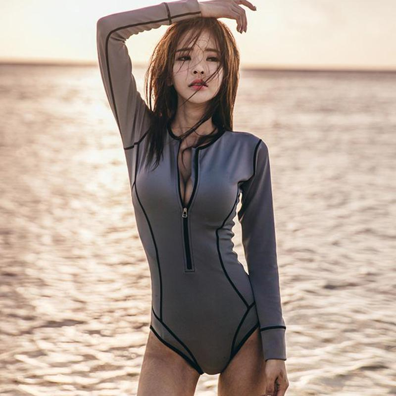 13d00e3444 2018 New Women One Piece Suit Long Sleeves Sexy Solid Dark Grey Swimsuit  Zipper Front Swimwear Female Monokini Surfing Suit M-XL
