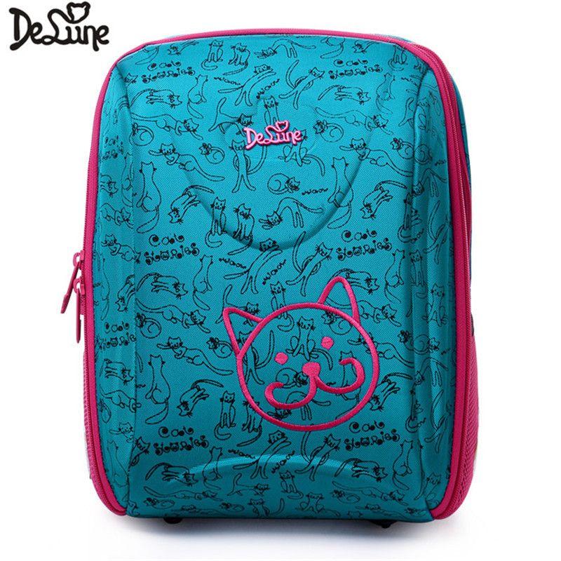 Delune New Style Girls Boys Nylon Fabric Children's Orthopedic Ergonomic Large School Backpack Fashion Mochila Infantil Bolsas