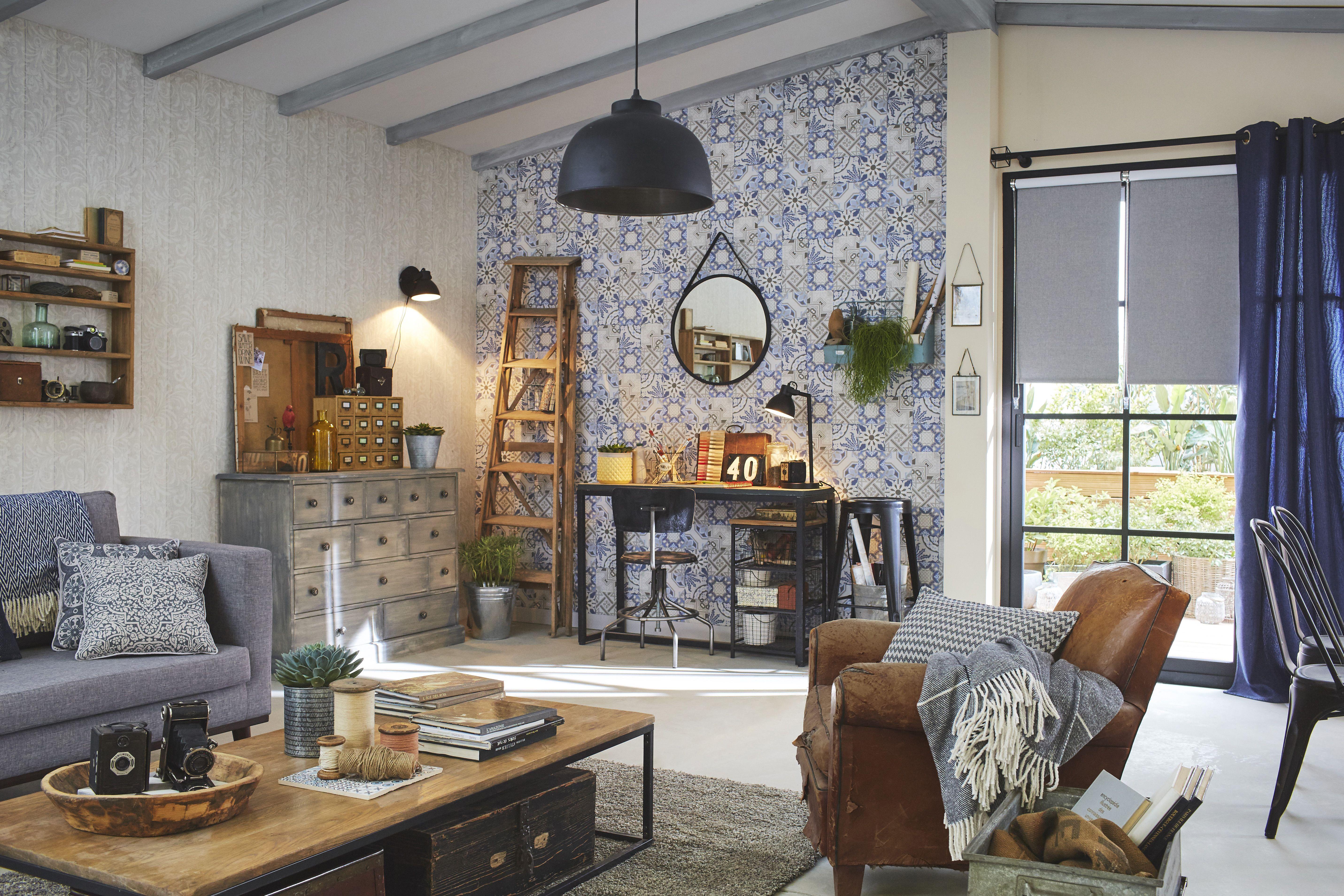 Papier Peint Style Atelier papier peint intissé ornement bois beige #leroymerlin