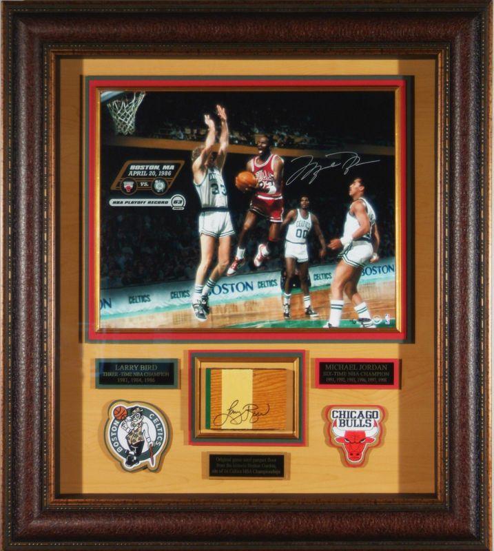 Michael Jordan vs Larry Bird SIGNED 16x20 Framed Autographed UDA