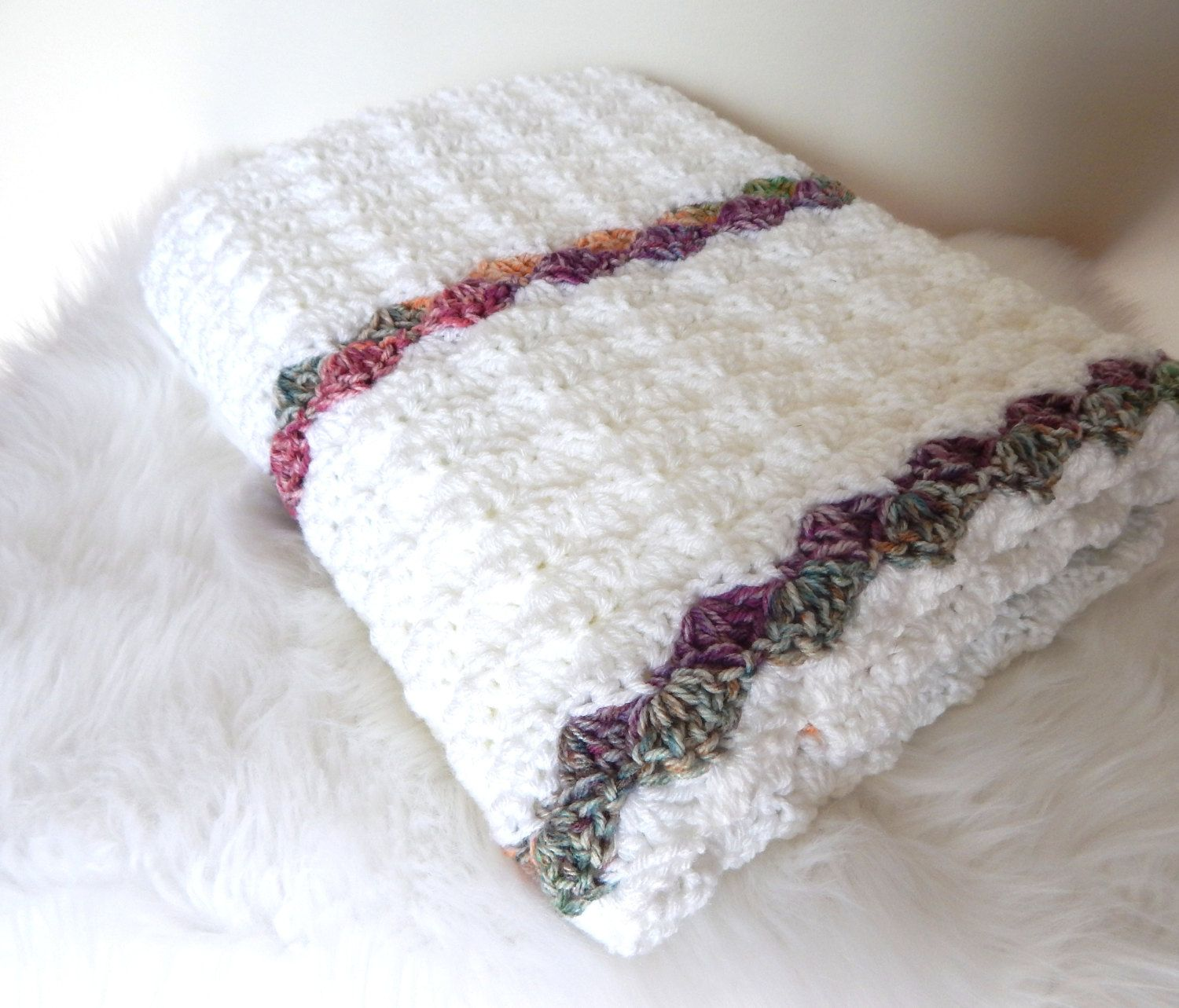 Knit Crochet Throw Blanket - Chunky Afghan Blanket - Home Decor Throw - Striped Blanket Throw - White and Variegated Ready to Ship by CdCkDesign on Etsy