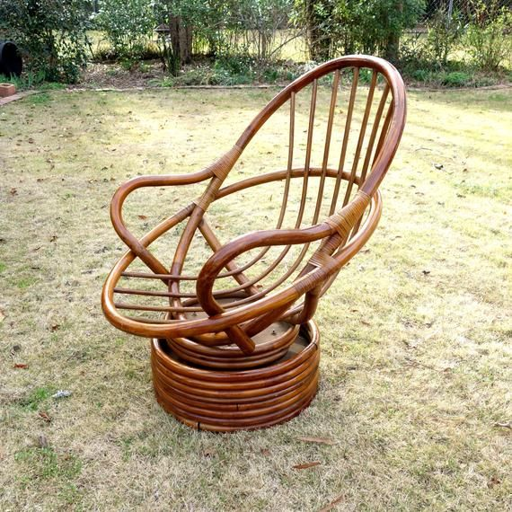 Amazing Vintage Rattan Swivel Rocking Chair Boho Bamboo Egg Chair Pabps2019 Chair Design Images Pabps2019Com