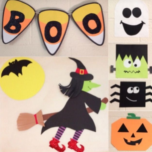 Diy Halloween Decorations Made With Construction Paper And Glue Paper Halloween Decorations Halloween Arts And Crafts Diy Halloween Decorations