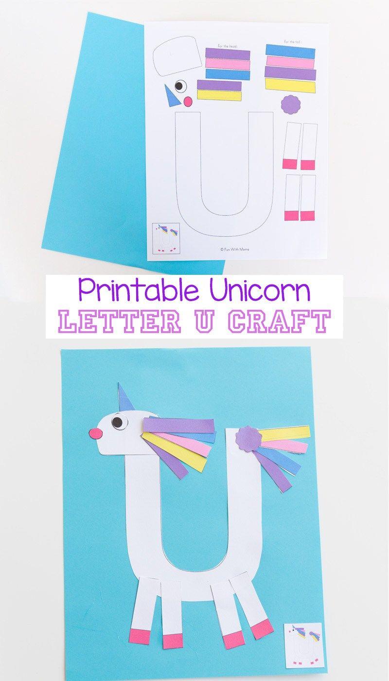Printable Letter U Craft Unicorn, Unicorn Crafts, Letter Crafts, Alphabet Letter Activities, Preschool Letter Lessons, Cutting Crafts, Fine Motor Crafts