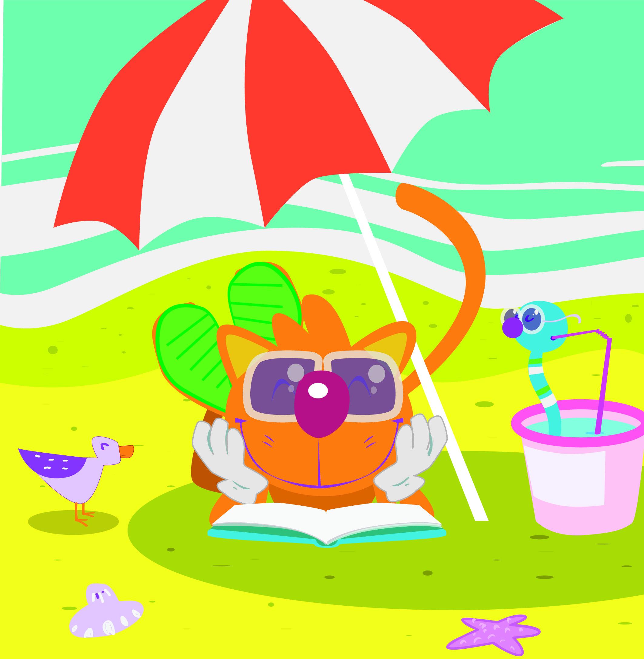 A Zyro en verano le gusta disfrutar de la playa y buen #libro, junto a su amigo Palabrejas