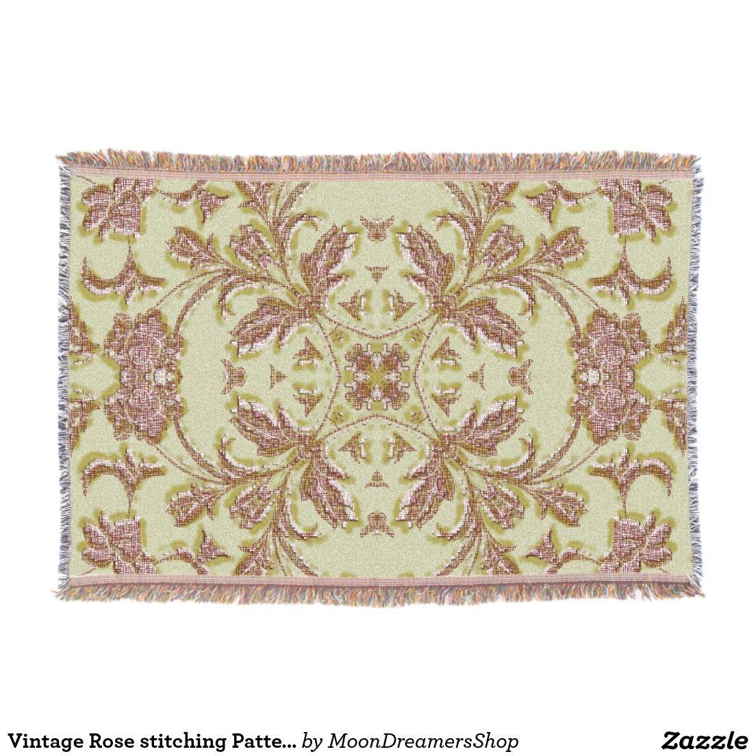 Vintage rose stitching pattern throw blanket blanket stitch and