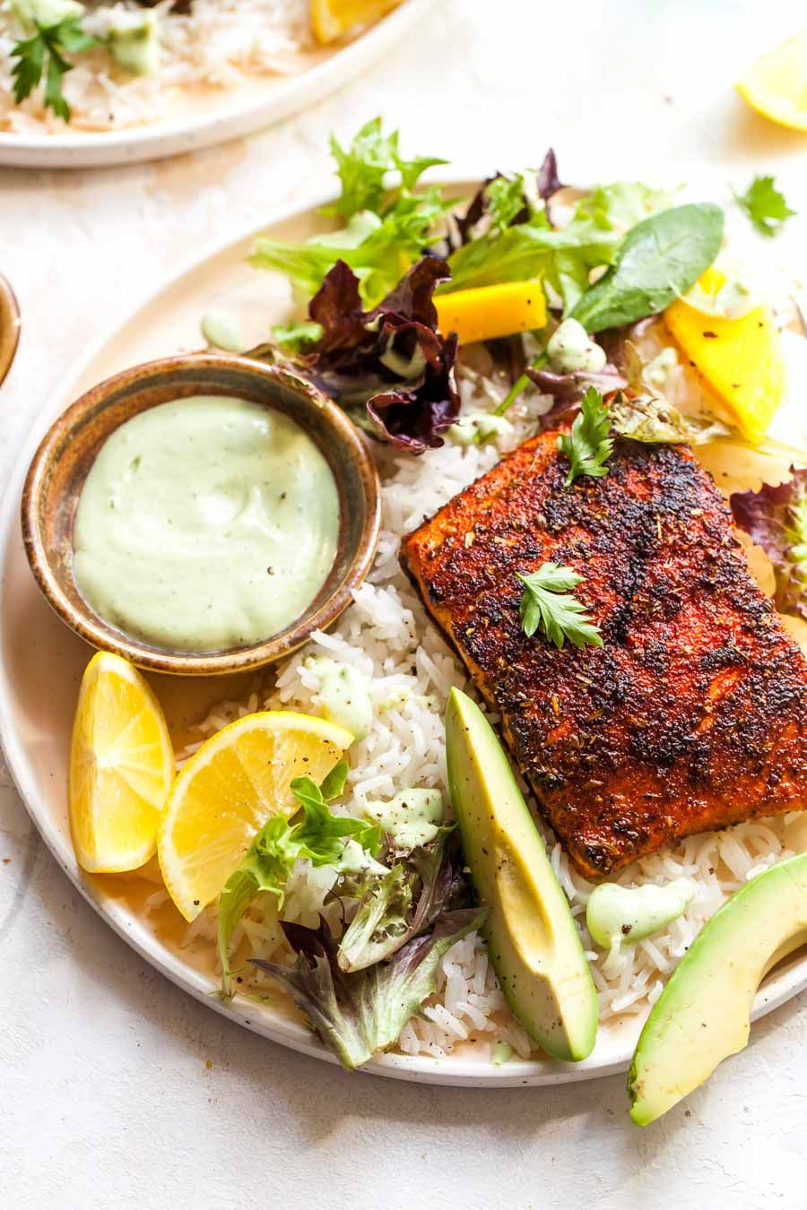 Blackened Salmon with Avocado Ranch
