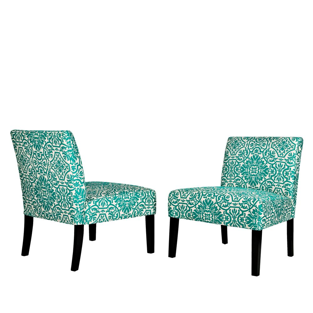Handy Living Bradstreet Damask Turquoise Blue Armless Chairs Set Of 2 By  Handy Living