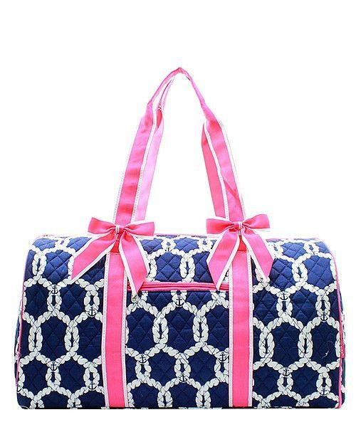 34f0f192771ff8 Rope and Anchor Nautical Print Quilted Duffle Bag Hot Pink Trim ...