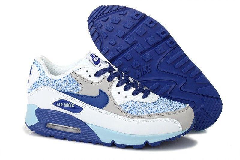 detailed look f15d0 1e89c Nike Sportswear Air Max 90 Essential chaussure Femme Print Bleu Marine Gris  Blahc