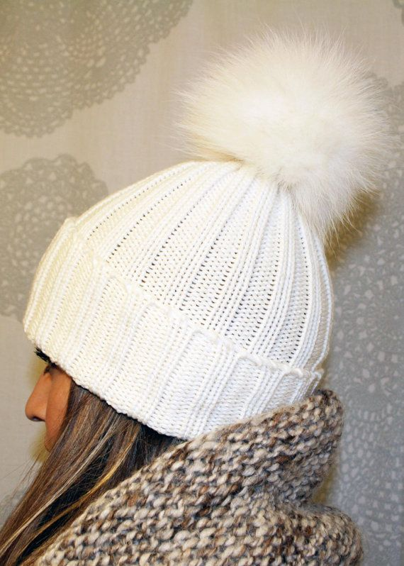 45a1a196a6e Wool Ribbed Knit Fox Fur Pom Pom Hat by LindoF on Etsy