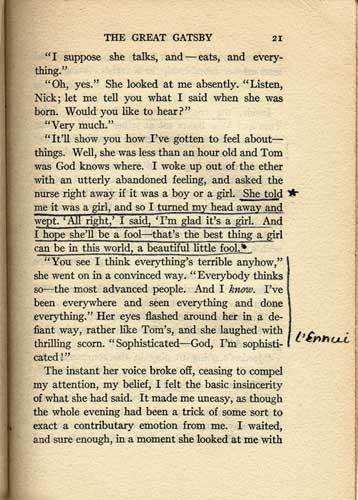 """Sylvia Plath's copy of The Great Gatsby: """"that's the best thing a girl can be in this world, a beautiful little fool"""" - """"l'ennui"""""""