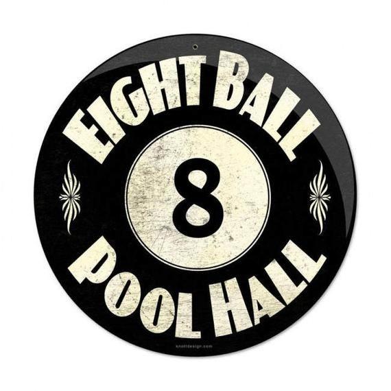 """Metal Sign """" 8 Ball Lounge Billiards Pool Hall """" 14"""" Dia"""