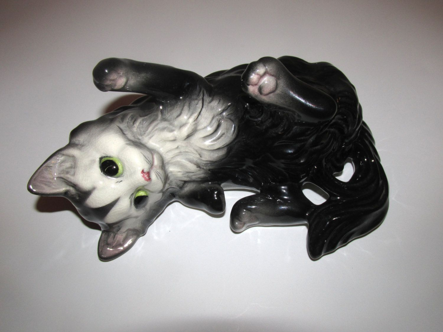 Vintage black and white Brad Keeler Pottery Cat marked on
