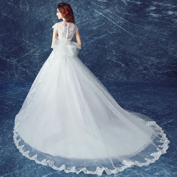 Angel wedding dress lace deep v collar deceive big tail princess ...