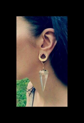 Crystal Moon Ear Weights Gauges Gauge Plugs Piercings 0g