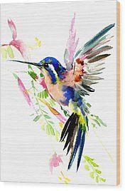 Flying Hummingbird Ltramarine Blue Peach Colors Wood Print by Suren Nersisyan