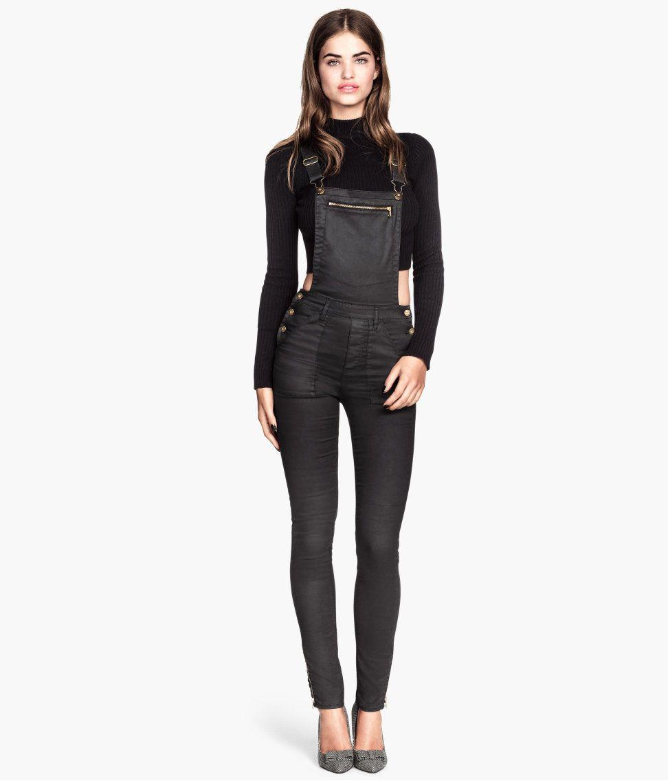 792d1da9bd9 Black bib overalls in coated stretch denim with ultra-slim legs ...