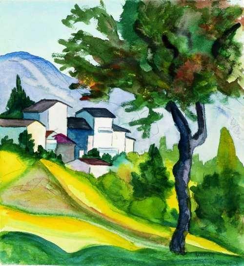 Hermann Hesse Baum Und Dorfchen Aquarell 16 06 1928 Painting