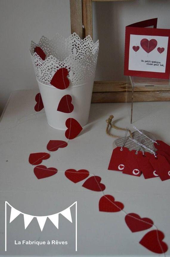 Guirlande pastilles coeur rouge d coration st valentin - Decoration coeur rouge ...