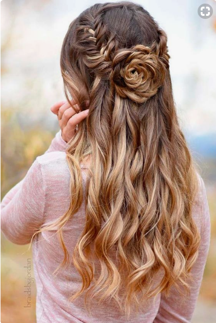 Fishtail Braid Into Flower Bun For Long Hair For Prom