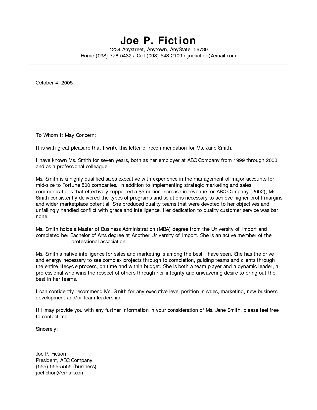 Business Recommendation Letter Sample Reference Download Free