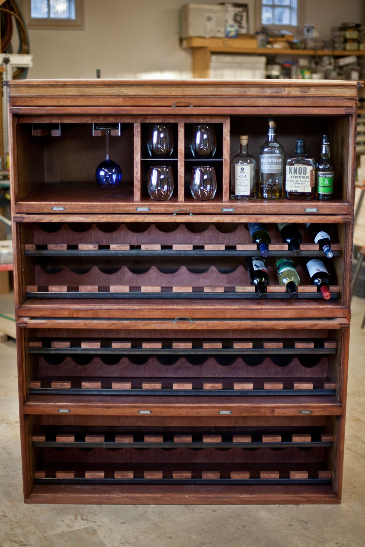 AWESOME -lawyers bookcase repurposed into a wine and liquor cabinet - by  arbor u0026 iron