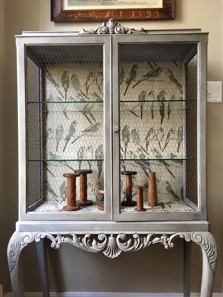 French Provincial Birdcage Curio Cabinetinted In Neutral