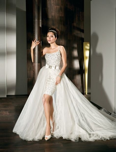 Perfect Vegas Wedding Dress Short Sparkly And With A Removable Tulle Skirt Train