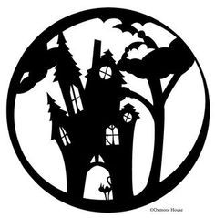 printable pumpkin carving stencils gooseberry patch haunted house rh pinterest com  haunted house halloween stencils