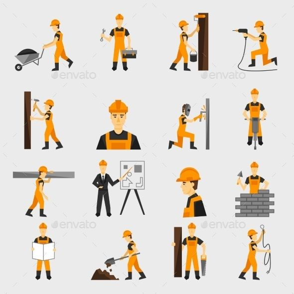 Construction Worker Icons Flat Icons Set Flat Icon Construction Worker