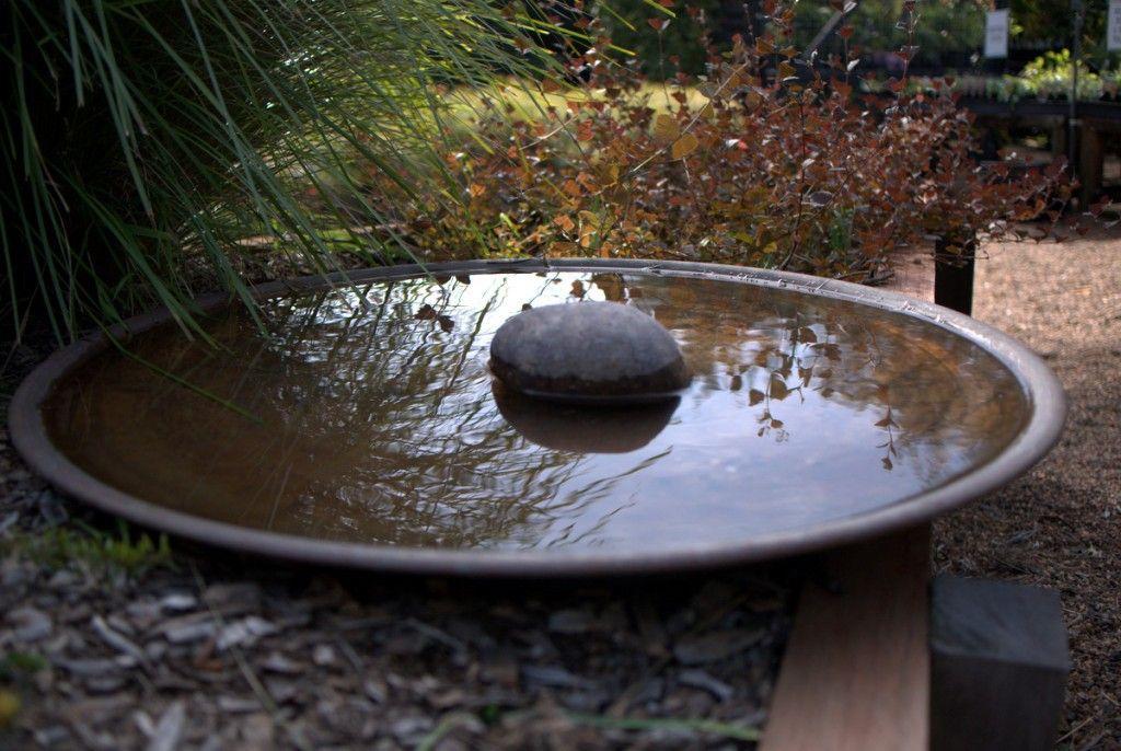 Mallee Spun Copper Bird Baths And Water Bowls On Display At Sydney Wildflower Nursery Copper Bird Bath Water Features In The Garden Bird Bath