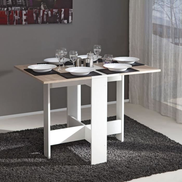 Table Pliante Papillon Blanc Et Chene Naturel 103 X 76 Table Pliante Table A Manger Pliante Table Salle A Manger