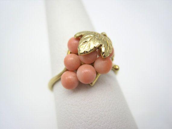 Vintage Angel Skin Coral Ring  10kt Grape by VintageInBloom, $185.00