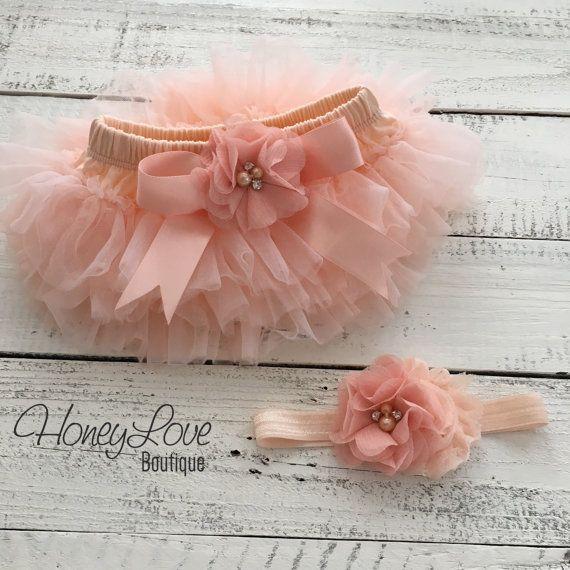 baa964ce9 SET Peach tutu skirt bloomers diaper cover, rhinestone chiffon ...