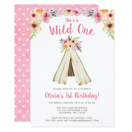 Boho Floral Tribal Teepee Wild One 1st Birthday Card - birthday - invitation card for ist birthday