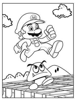Mario is running coloring page