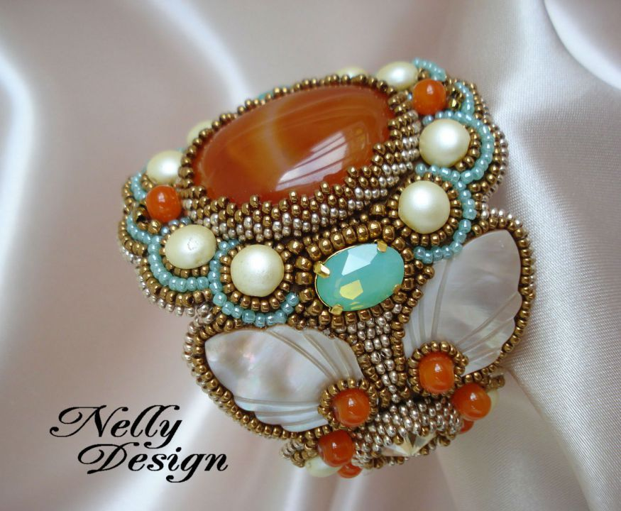 """Caramel"" - Bead embroidery bracelet by NellyDesign"