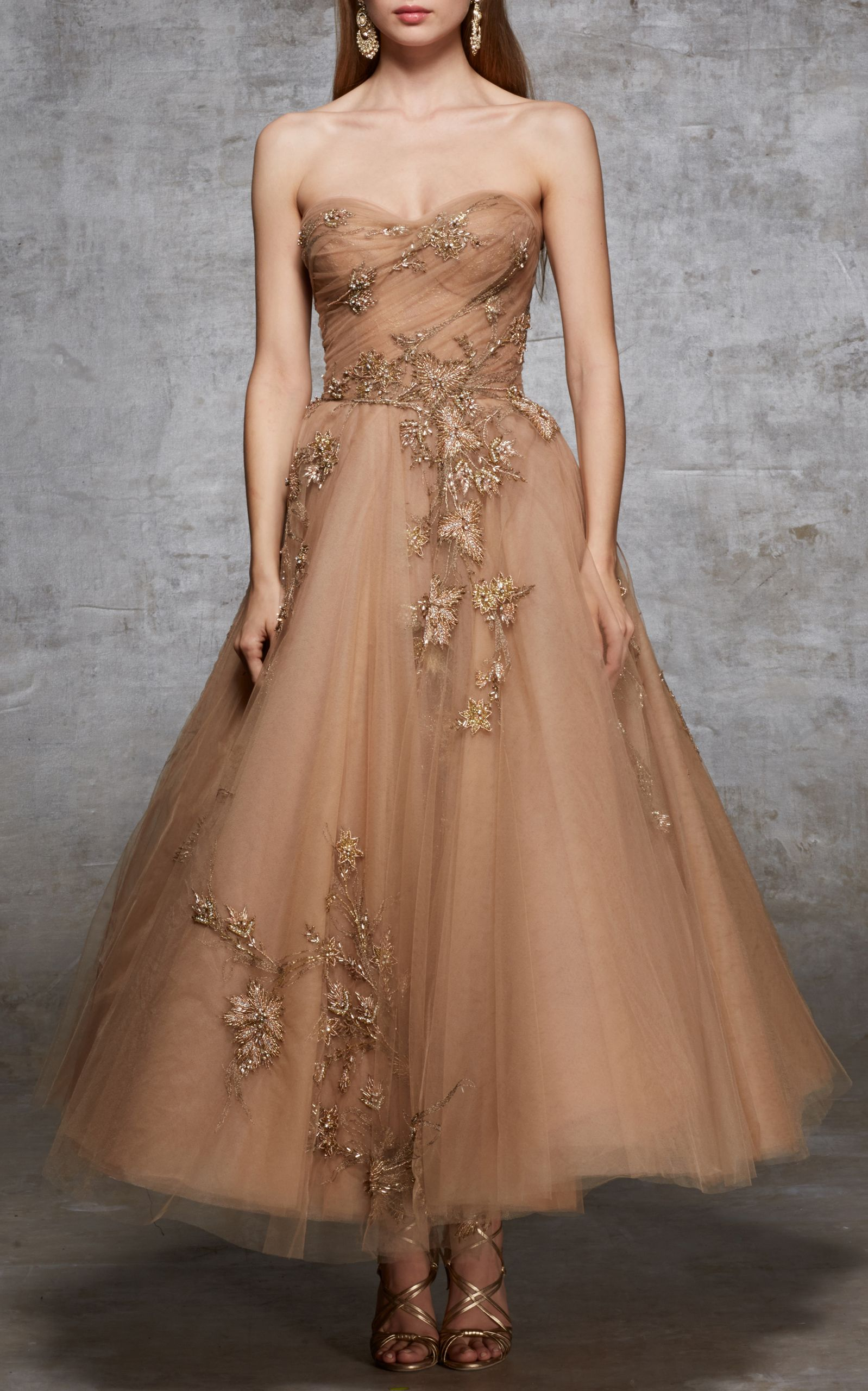5d9834e1 Tea Length Bead Tulle Gown | Fashion Lust | Gowns, Cotoure gowns ...