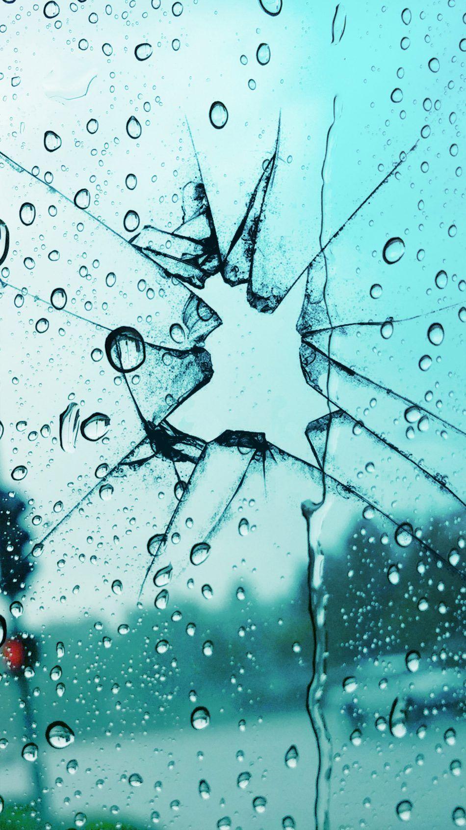 Broken Glass Rain Drops Broken Glass Wallpaper Broken Screen